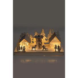 image-Wooden Light Up Festive Scene Decoration