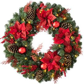 image-Luxury Pre-Lit 76cm Lighted Pine & Berry Artificial Wreath Three Posts