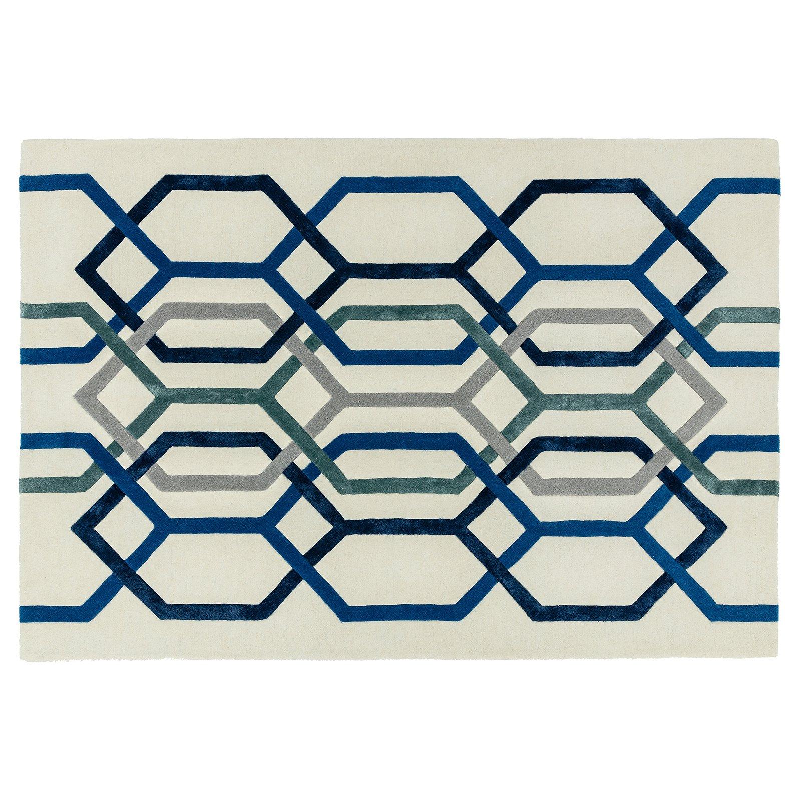 image-Geom Wool Rug, 120X170 cm, White