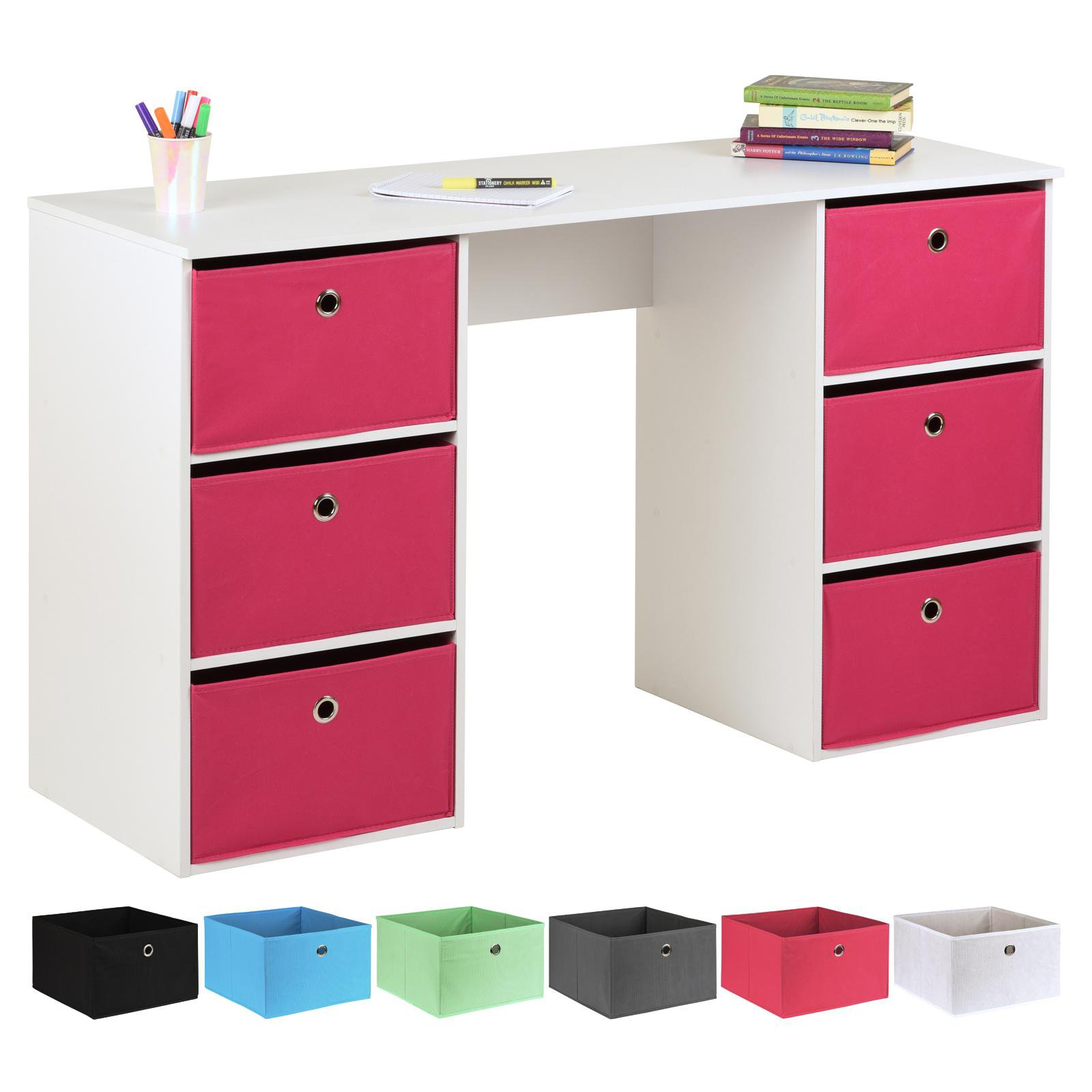 image-Hartleys Kids White Storage Desk & 6 Easy Grasp Box Drawers - Pink