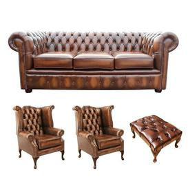 image-Keiran Chesterfield 4 Piece Leather Sofa Set Williston Forge Upholstery Colour: Antique Tan