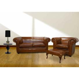 image-Damita Chesterfield 3 Piece Leather Sofa Set Marlow Home Co.