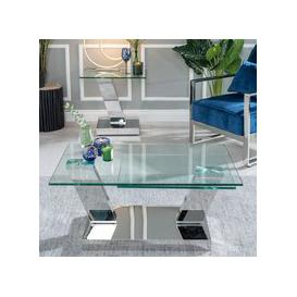 image-Westin Glass and Stainless Steel Chrome Rotating Coffee Table