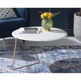 image-Trio White Marble Round Coffee Table