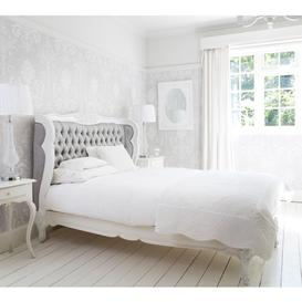 image-French Bed - Bergerac Silk Upholstered Grey White Superking Bed