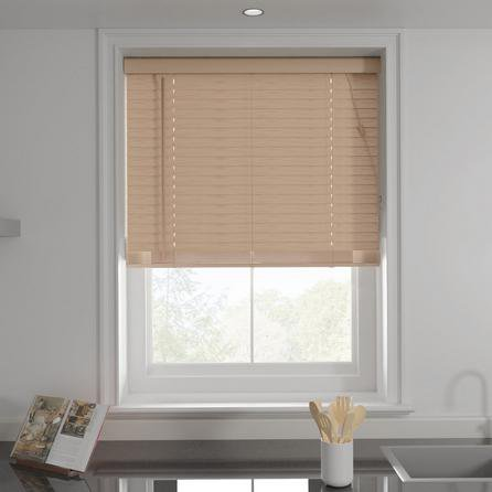 image-Oak Effect 50mm Slats Venetian Blind Brown