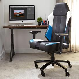 image-Echo Gaming Chair X Rocker Upholstery Colour: Blue