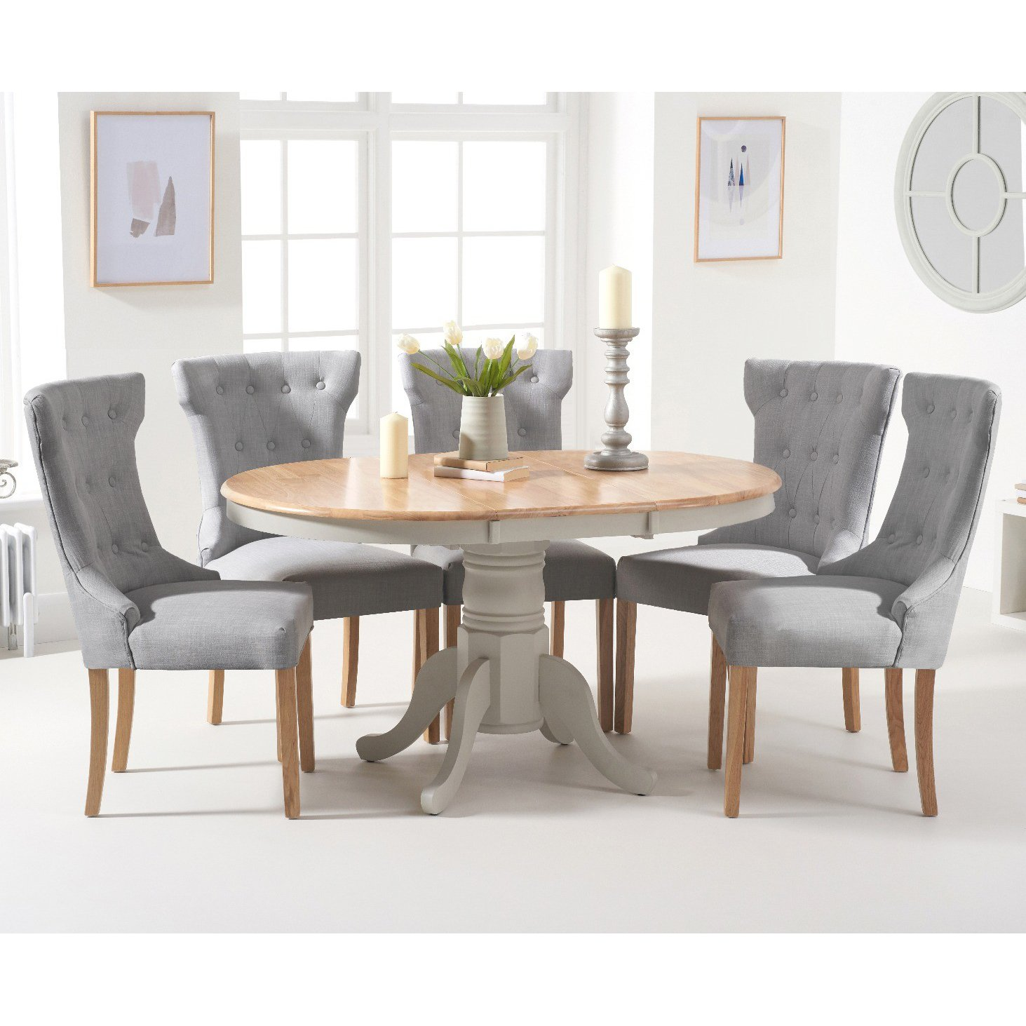 image-Epsom Oak and Grey Pedestal Extending Table with Camille Chairs - Grey, 4 Chairs