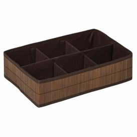 image-Waldo Wicker/Plastic Organiser Box with 6 Sections Beachcrest Home Finish: Dark Brown