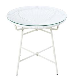 image-White Resin and Glass Garden Coffee Table