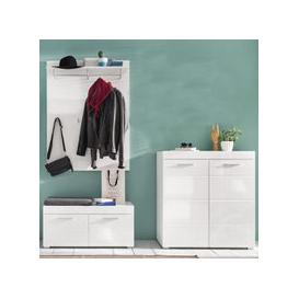 image-Amanda Coat Rack And Bench With Shoe Cabinet In White High Gloss