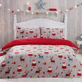 image-Sleepdown Santa Christmas Fleece Red Warm Cosy Super Soft Easy Care Reindeer Presents Xmas Grey Stars Reversible Mini Polka Dots Duvet Cover Quilt Bedding Set with Pillowcase - Single (135cm x 200cm) - Like New