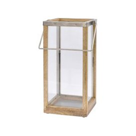 image-Libra Namala Nickel & Natural Mango Wood Tall Lantern