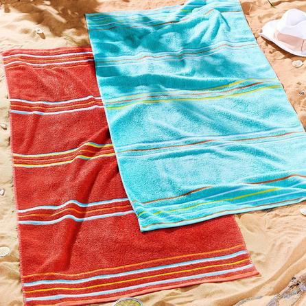image-Catherine Lansfield Rainbow Red and Blue Beach Towel Twin Pack Multi-Coloured