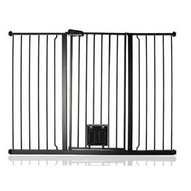 image-Maxen Safety Gate with Lockable Cat Flap Archie & Oscar Finish: Grey, Size: 104 cm H x 134.3cm W