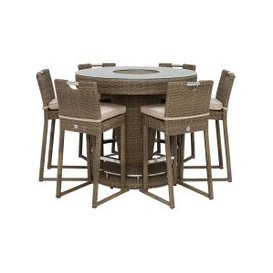 image-Taransay Garden Tall Bar Table with Ice Bucket and 6 Stools, Natural and Beige