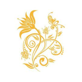 image-Flower Ornament, Dots Wall Sticker East Urban Home Colour: Golden yellow, Size: 57 cm H x 74 cm W
