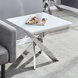 image-Petra Glass Top Lamp Table In White High Gloss And Chrome Legs