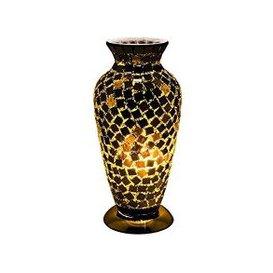image-Apollo Mosaic Glass Vase Table Lamp In Black Tile