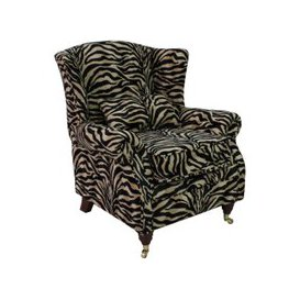 image-Animal Print Antelope Gold Wing Chair Fireside High Back Armchair