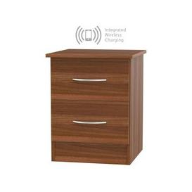 image-Avon Noche Walnut 2 Drawer Bedside Cabinet with Integrated Wireless Charging
