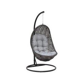 image-Hazel Garden Hanging Chair, Grey Weave and Grey Fabric