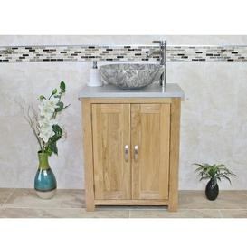 image-Cowen Compact Solid Oak 650mm Free-Standing Vanity Unit Belfry Bathroom Base Finish: Light Wood, Top Finish: Grey, Sink Finish: Grey Marble