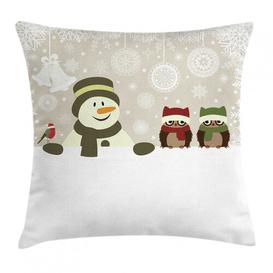 image-Kaisha Christmas Snowflake Winter Day Outdoor Cushion Cover Ebern Designs Size: 50cm H x 50cm W