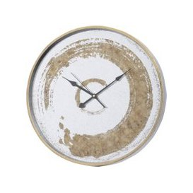 image-Libra Gold Swirl Mirrored Wall Clock