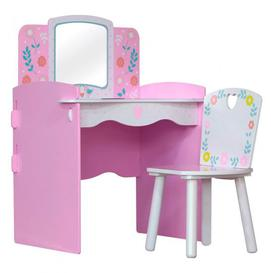 image-Country Cottage Kids Dressing Table In Pink And White With Chair