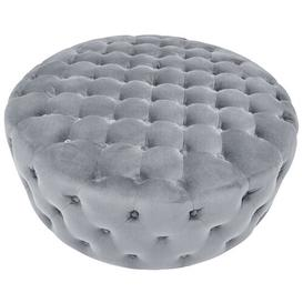 image-Round Velvet Cocktail Ottoman BelleFierté Upholstery Colour: Grey