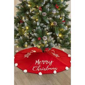 image-Red Merry Christmas Tree Skirt