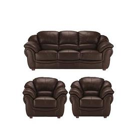 image-Napoli Leather 3 Seater Sofa + 2 Armchairs Set (Buy And Save!)