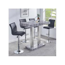 image-Melange Gloss Marble Effect Bar Table And 4 Ripple Black Stools