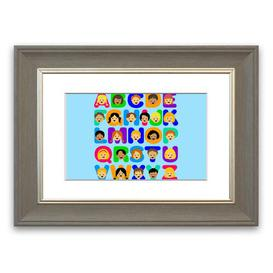 image-'Alphabet Children' Framed Graphic Art in Baby Blue East Urban Home Size: 70 cm H x 93 cm W, Frame Options: Grey