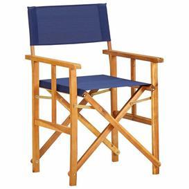 image-Brawith Folding Director Chair Dakota Fields Colour (Fabric): Blue, Colour (Frame): Brown