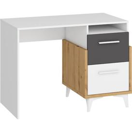 image-Samson Desk Isabelline Colour (Frame): Graphite, Orientation: Right, Size: 76cm H x 105cm W x 57cm D