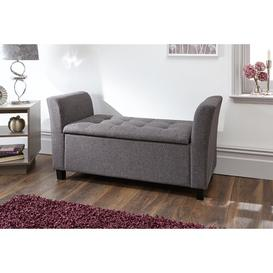 image-Ashley Upholstered Storage Bench Three Posts Upholstery: Charcoal Grey