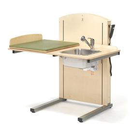 image-Height-adjustable changing table LYFTA, incl, R/H sink, 1200x800 mm
