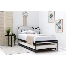 image-Eby Daybed with Trundle Williston Forge Colour: Black, Mattress Included: 12cm Memory Foam/25cm Pocket Sprung Memory Foam