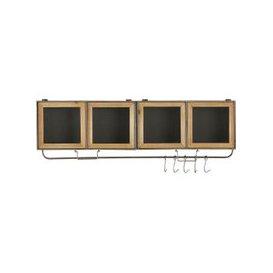 image-2-Door 5-Hook Pine and Metal Shelving Unit