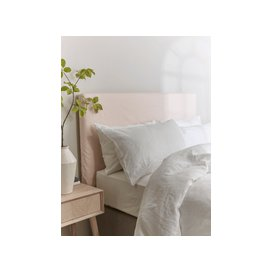 image-Soft Blush Washed Linen Replacement Headboard Cover - Double