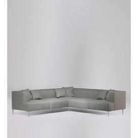 image-Swoon Kallas Corner Sofa in Lightgrey Soft Wool With Silver Feet