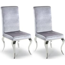 image-Clearance - Vida Living Louis Silver Fabric Dining Chair (Pair) - New - E-291