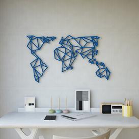image-World Map Geometric Metal Wall Décor Happy Larry