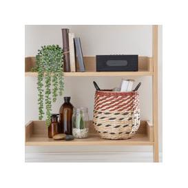 image-Large Hexagonal Rush Basket Brown and Blue