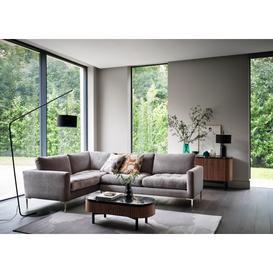 image-Heal's Eton Right Hand Facing Corner Sofa Smart Velvet Grey Brass Feet