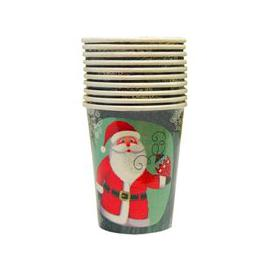 image-Christmas Paper Cup 10 Pack - Green Santa