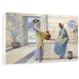 image-'Two Women of Ancient Greece Filling Their Water Jugs at a Fountain (Women of Corinth)' Painting Astoria Grand Format: Wrapped Canvas, Size: 68.1 cm H
