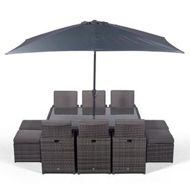image-Nikolas 6 Seater Dining Set with Cushions and Parasol Ebern Designs